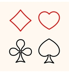 Set of playing card suits flat line style icon vector image