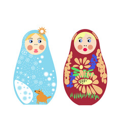 Set of russian nesting dolls matryoshka vector