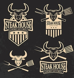 Set steak house emblems templates vector