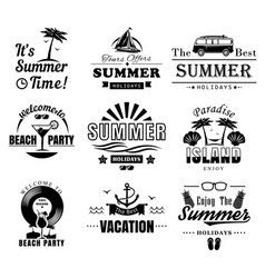 set summer time vintage logos labels vector image