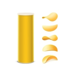 Set yellow box with potato chips vector