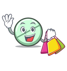 shopping drug tablet character cartoon vector image