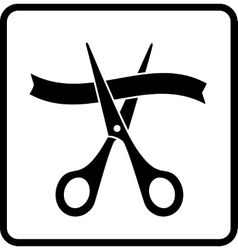 sign with scissors cutting ribbon vector image