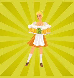 smiling german waitress wears traditional costume vector image