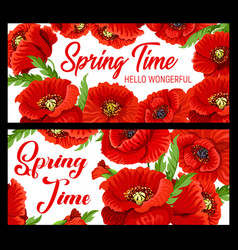 spring time poppy flowers floral petals banners vector image