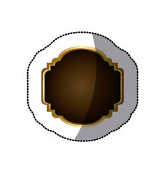 Sticker golden border with decorative heraldic vector