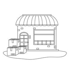 store with boxes vector image