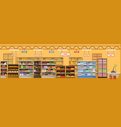 supermarket interior with products big store vector image