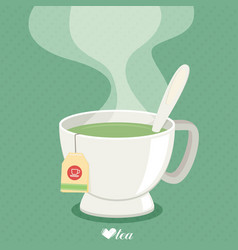 Tea cup with smoke flat vector