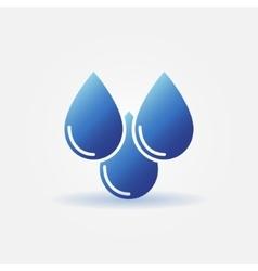 Three blue water drops icon vector image