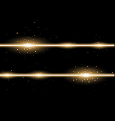 Two lines with lights and sparks golden color vector