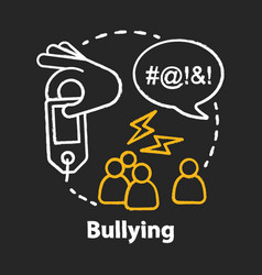 Verbal and social bullying chalk concept icon vector