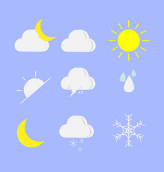 Weather icons set on blue bacground vector
