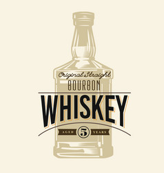 whiskey bottle in vintage style with text label vector image