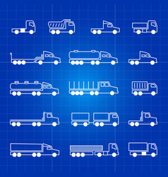 white truck line icons transportation vector image