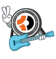 With guitar bitcoin dark mascot cartoon vector