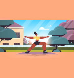 woman doing stretching exercises outdoor girl vector image