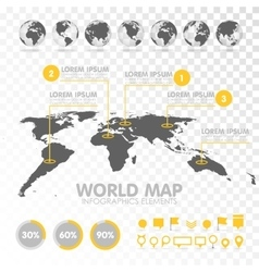 World map 3d with set infographics elements vector