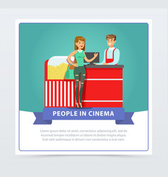 Young woman buying popcorn from salesman people vector