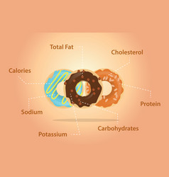 donuts nutrition ingredients detail information vector image