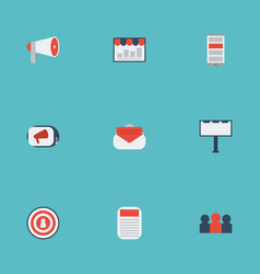 Flat icons auditorium audience journal and other vector