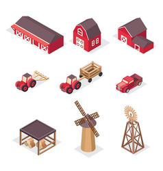 isometric farm icons vector image vector image