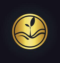 plant gold ecology logo vector image