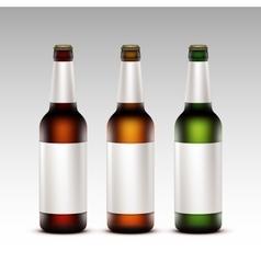 Set of Bottles Dark Beer with White labels vector image