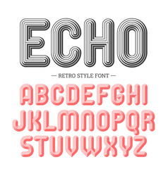 echo retro style volume font vector image vector image