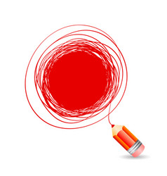 hand drawn bubble for text draws a red pencil vector image