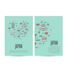 japan travel tour booklet set in linear style vector image vector image