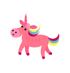 pink fairytale unicorn with a rainbow mane cartoon vector image