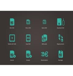 Set of mini micro and nano simcard icons set vector image