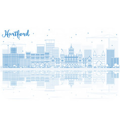outline hartford skyline with blue buildings vector image vector image