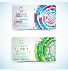 two futuristic banners set vector image vector image