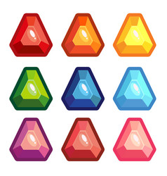 a set of colored triangle gems vector image vector image