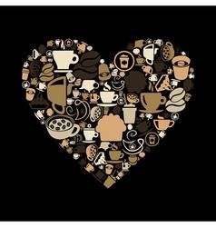 Coffee heart vector image