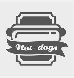 hotdog badge label logo or icons design vector image