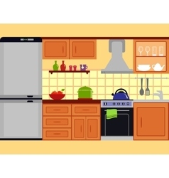 kitchen room with furniture set vector image