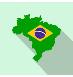 Map of Brazil with the image of the national flag vector image vector image