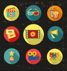 movie icon setblack versiongrunge with vector image