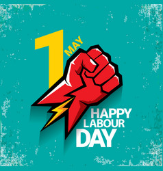 1 may happy labour day label with strong vector