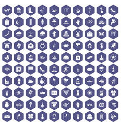100 flowers icons hexagon purple vector image