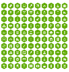 100 holidays family icons hexagon green vector