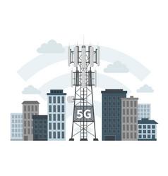 5g mast base stations in innovative smart city vector