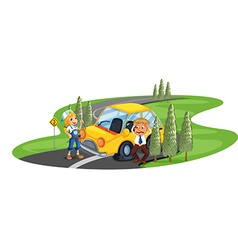 A car accident at the road near the pine trees vector