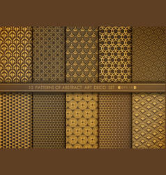 Abstract flower style antique gold art deco vector