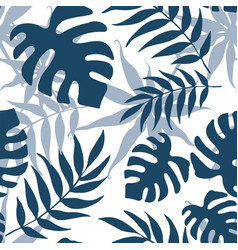 abstract seamless background with tropical leaves vector image