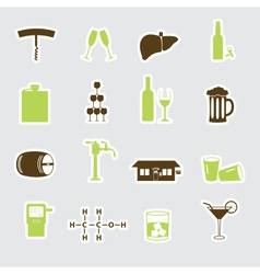 Alcohol stickers set eps10 vector