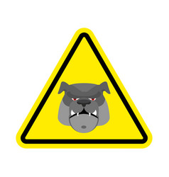 Angry dog warning sign yellow bulldog hazard vector